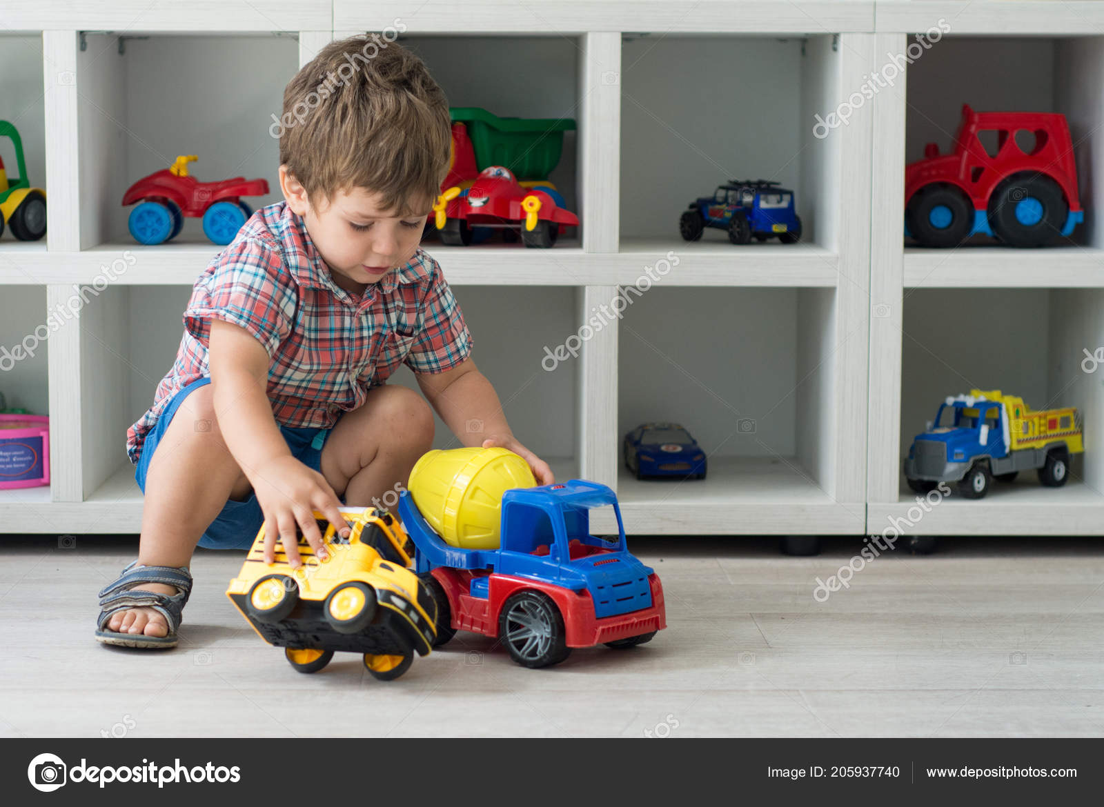Baby Boy Toy Car Kindergarten Background Stock Photo