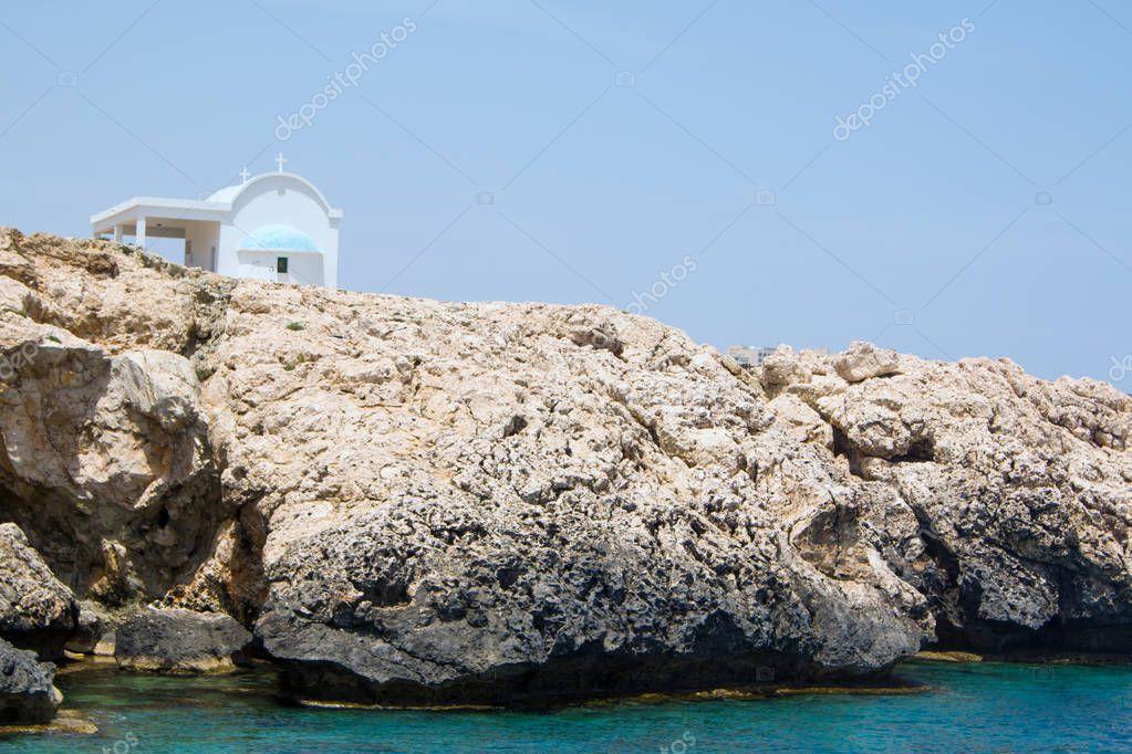 Sea Caves in Ayia Napa. Mediterranean Sea coast. Cyprus. Color tone tuned