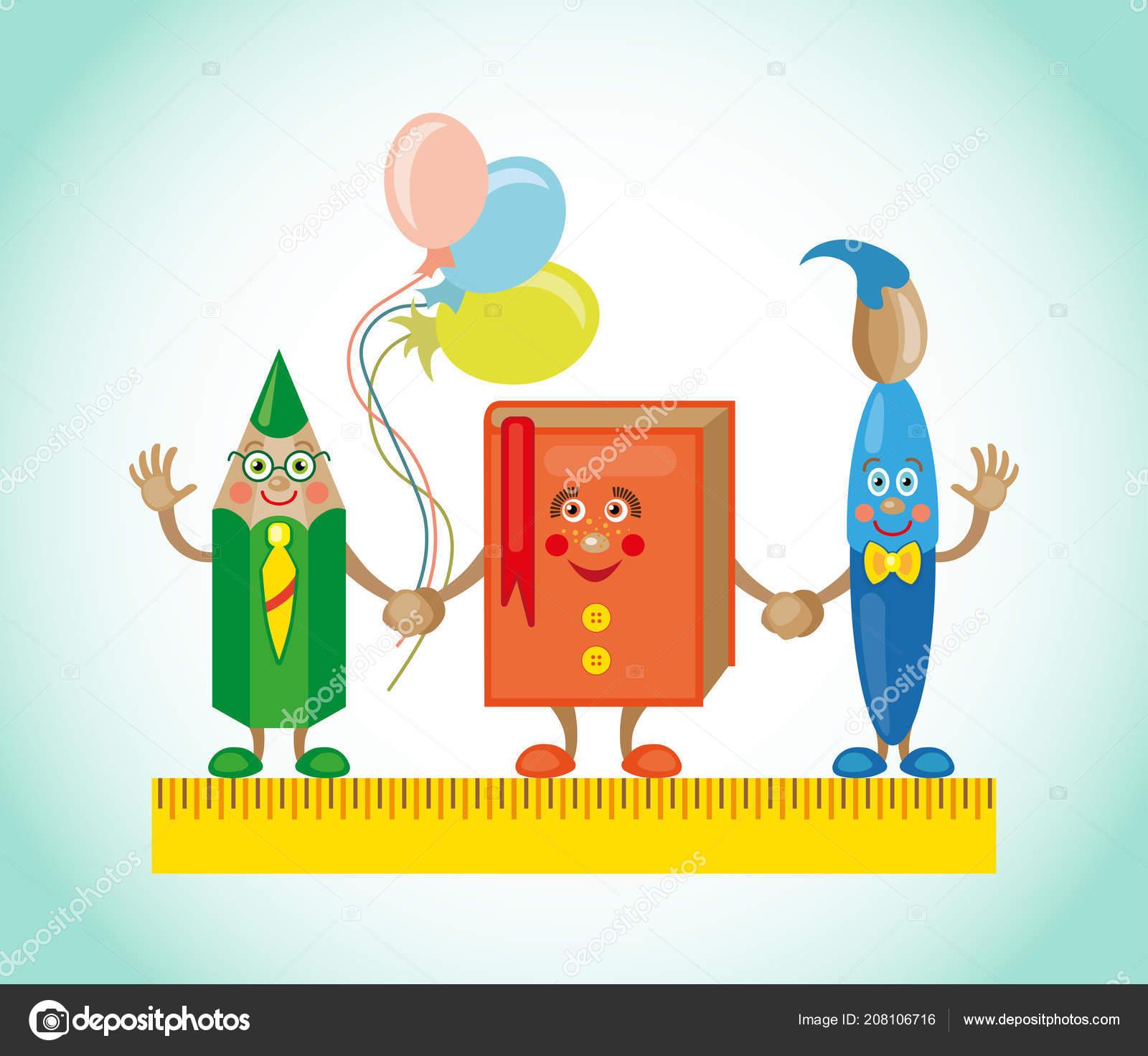 Back School Vector Banner Design Colorful Funny School Characters Education Stock Vector C Miller22 208106716