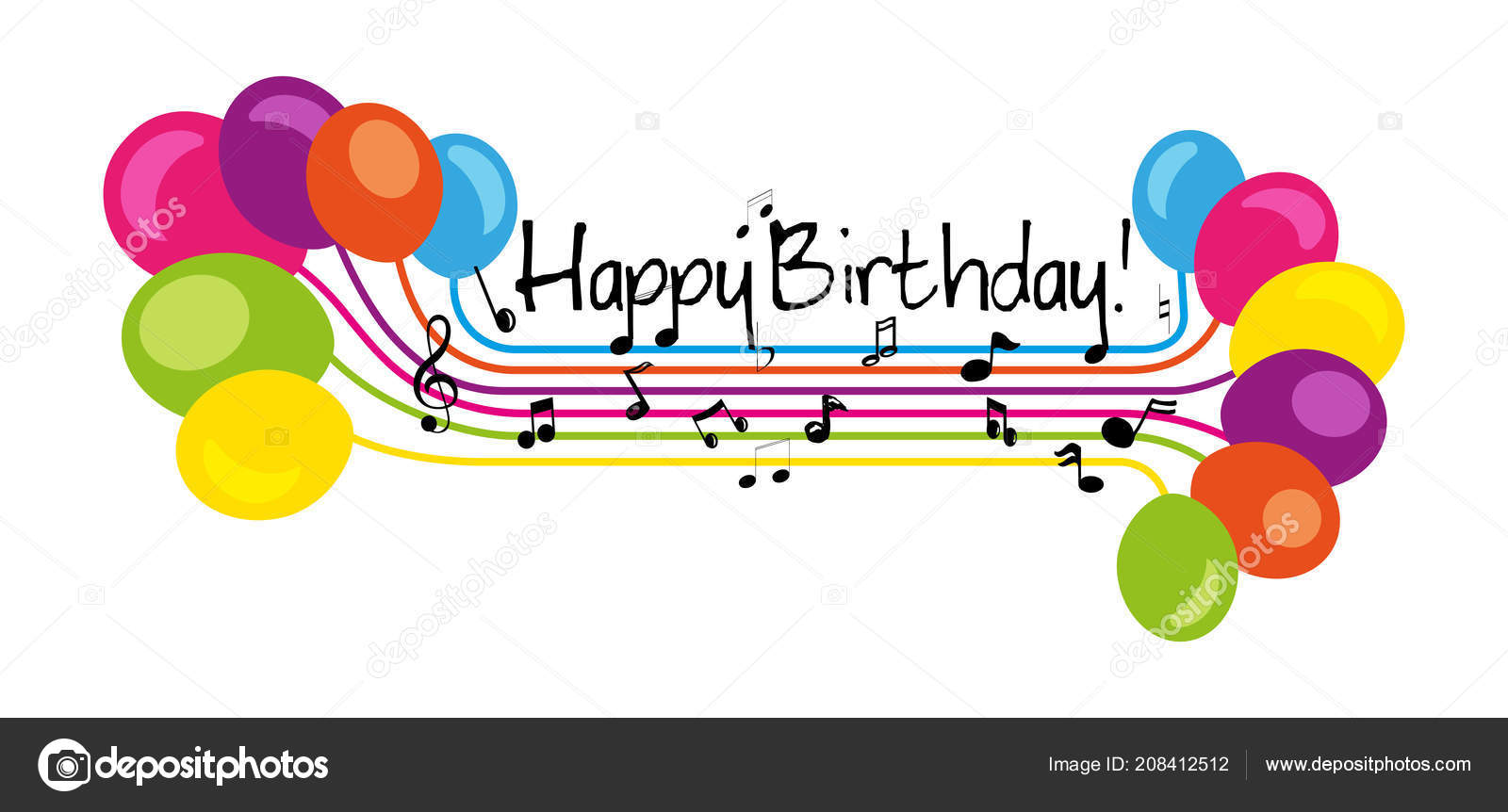 Hand Drawn Sign Happy Birthday Music Stave Style Isolated White Stock Photo