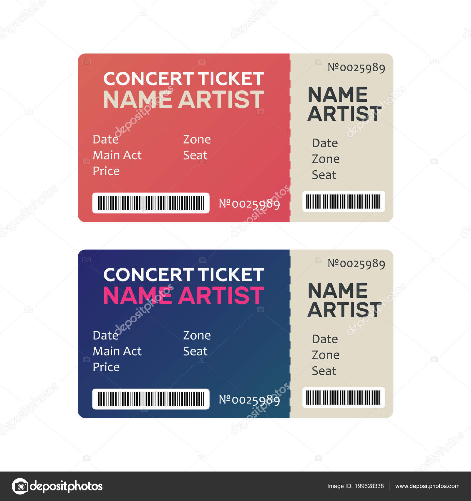 ticket concert invitation show music dance live concert tickets templates stock vector