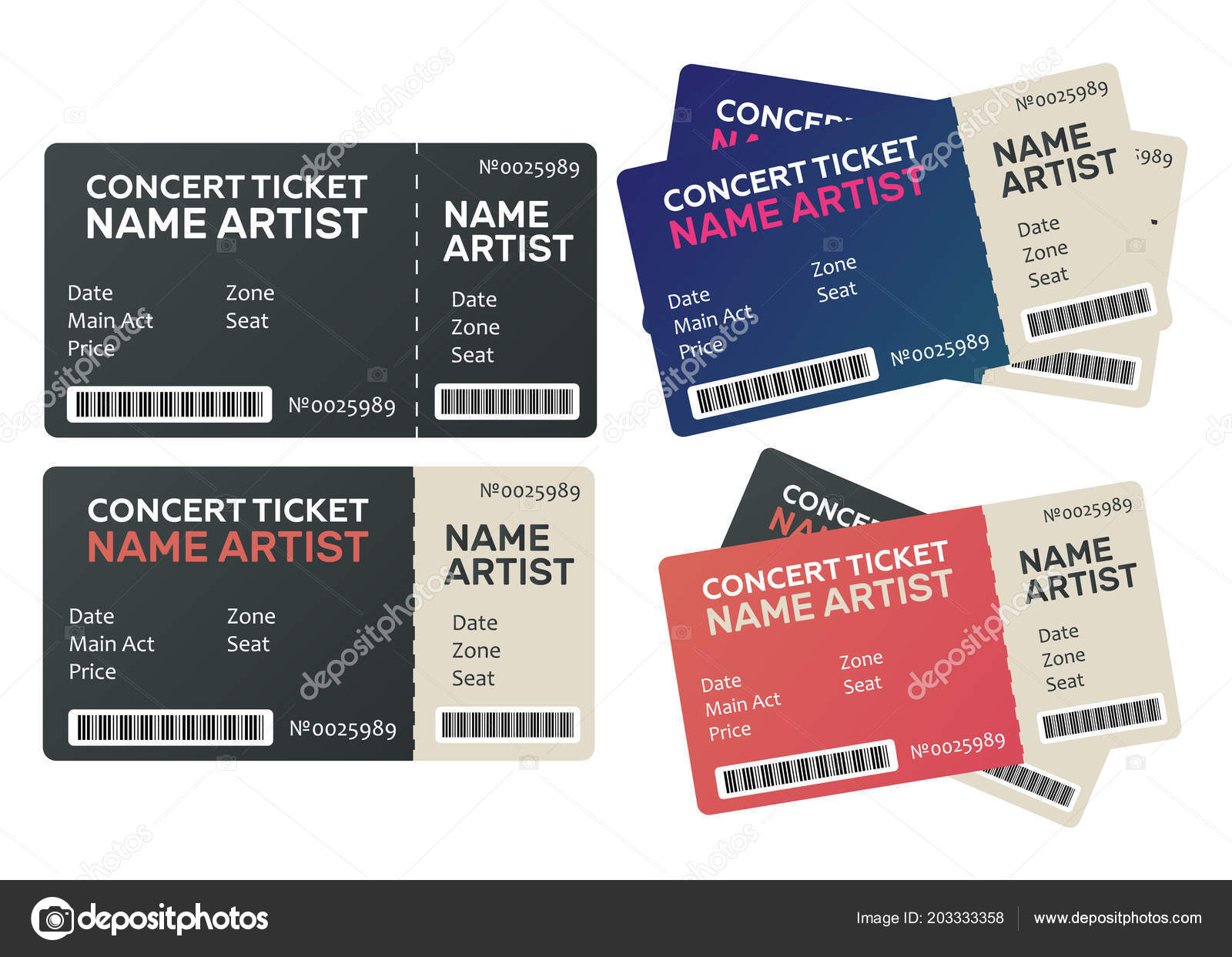 concert vector ticket music dance live concert tickets templates
