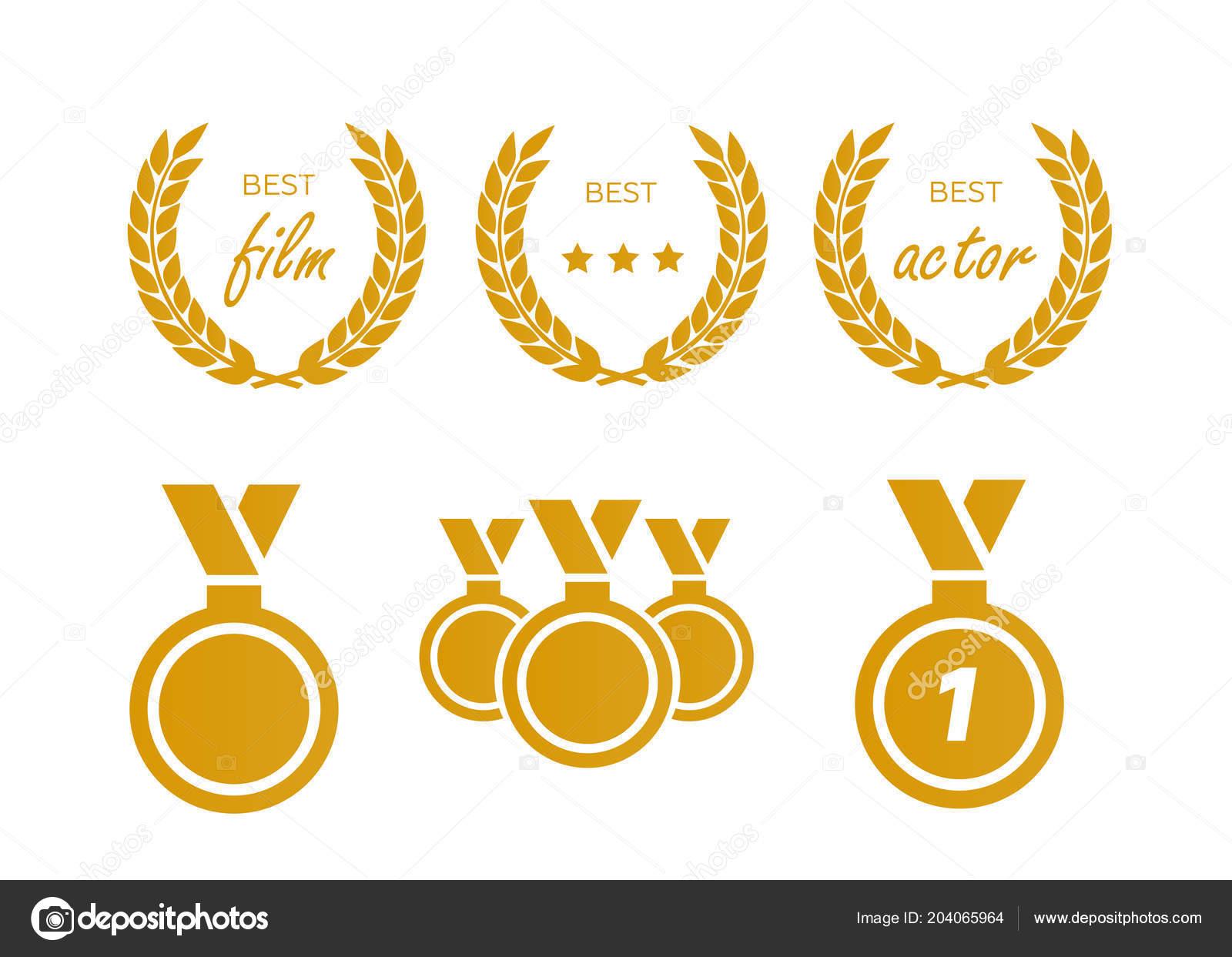 Zlaté Ocenění Vavřínový Věnec Vavřín Vítěze Vítězství Úspěch Vektor —  Stockový vektor 72d175c20d