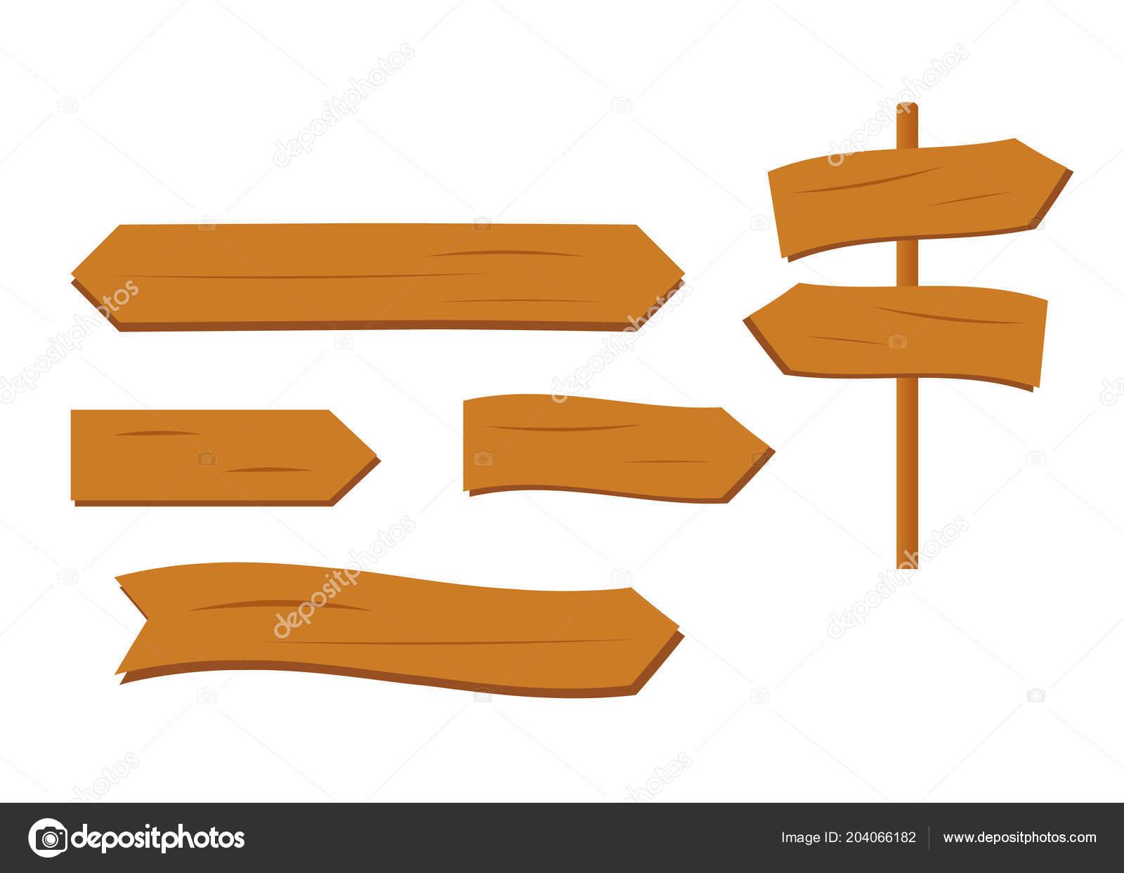 Cartoon Wooden Plank Signs Wooden Sign Vector Retro Western Signs U2014 Stock  Vector