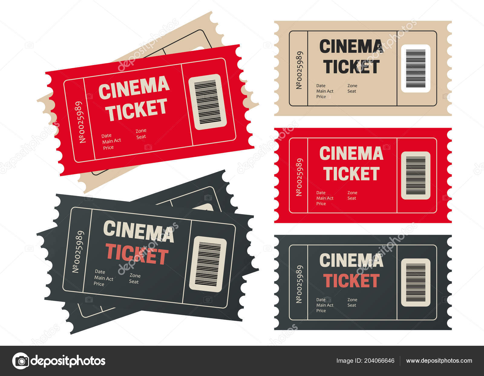 ticket template for your event retro cinema or movie tickets