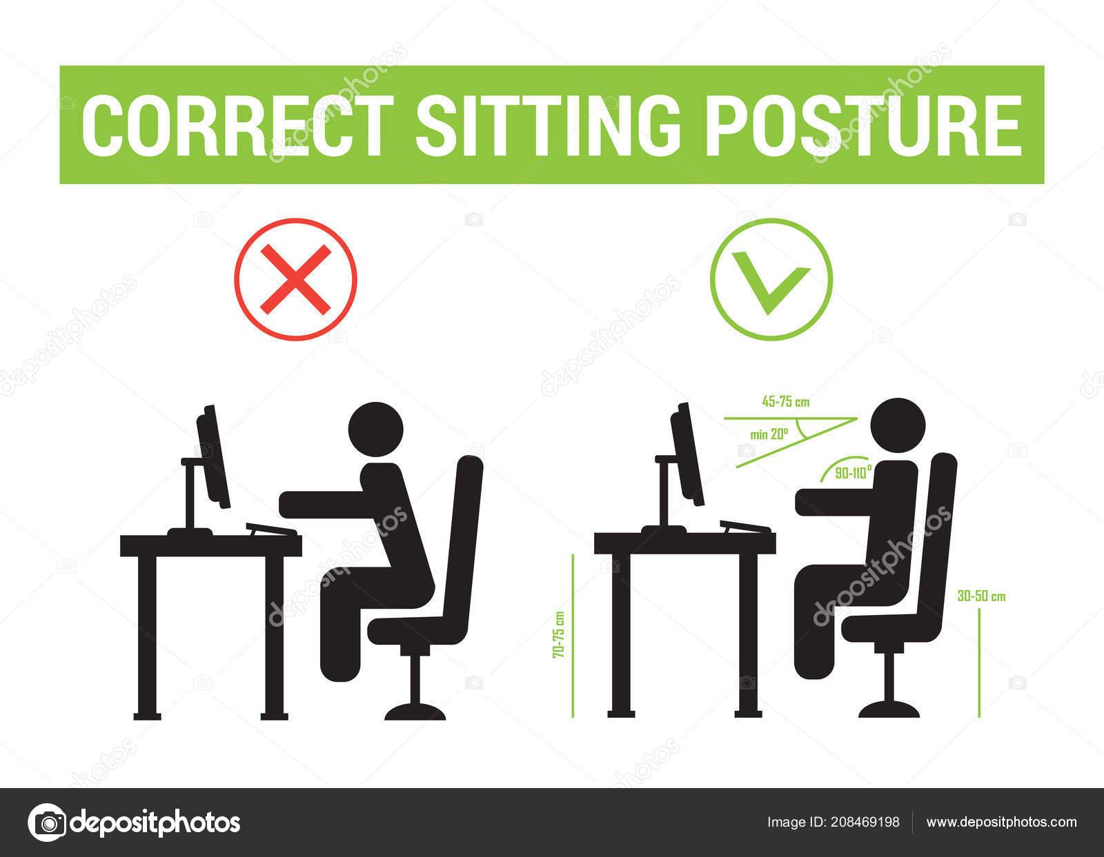 Richtige Sitzhaltung Korrekte Position Der Personen Richtige