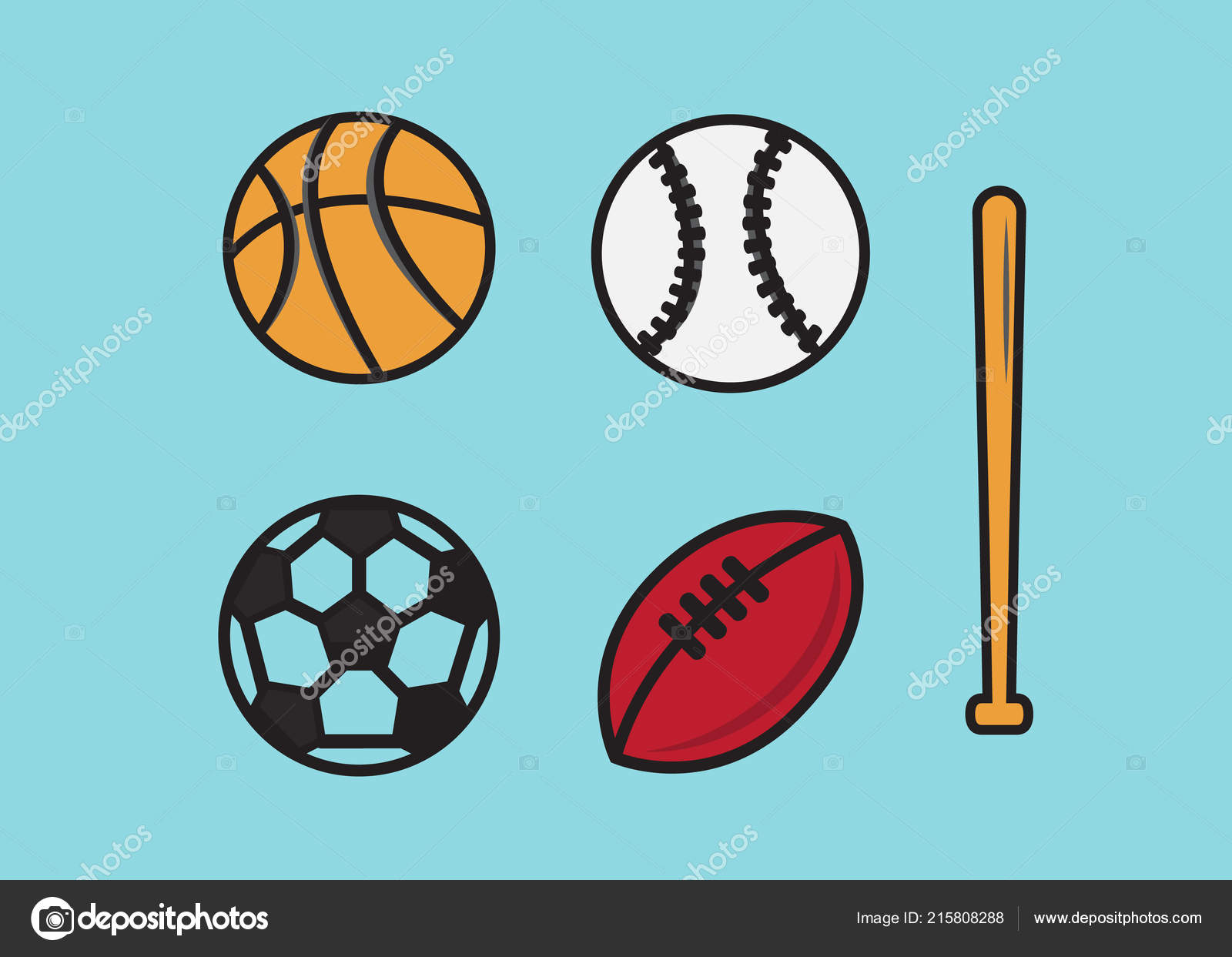 Pictures Cartoon Sports Balls Sports Balls Cartoon Ball Set Soccer Rugby Basketball Football Balls Stock Vector C Myub 215808288