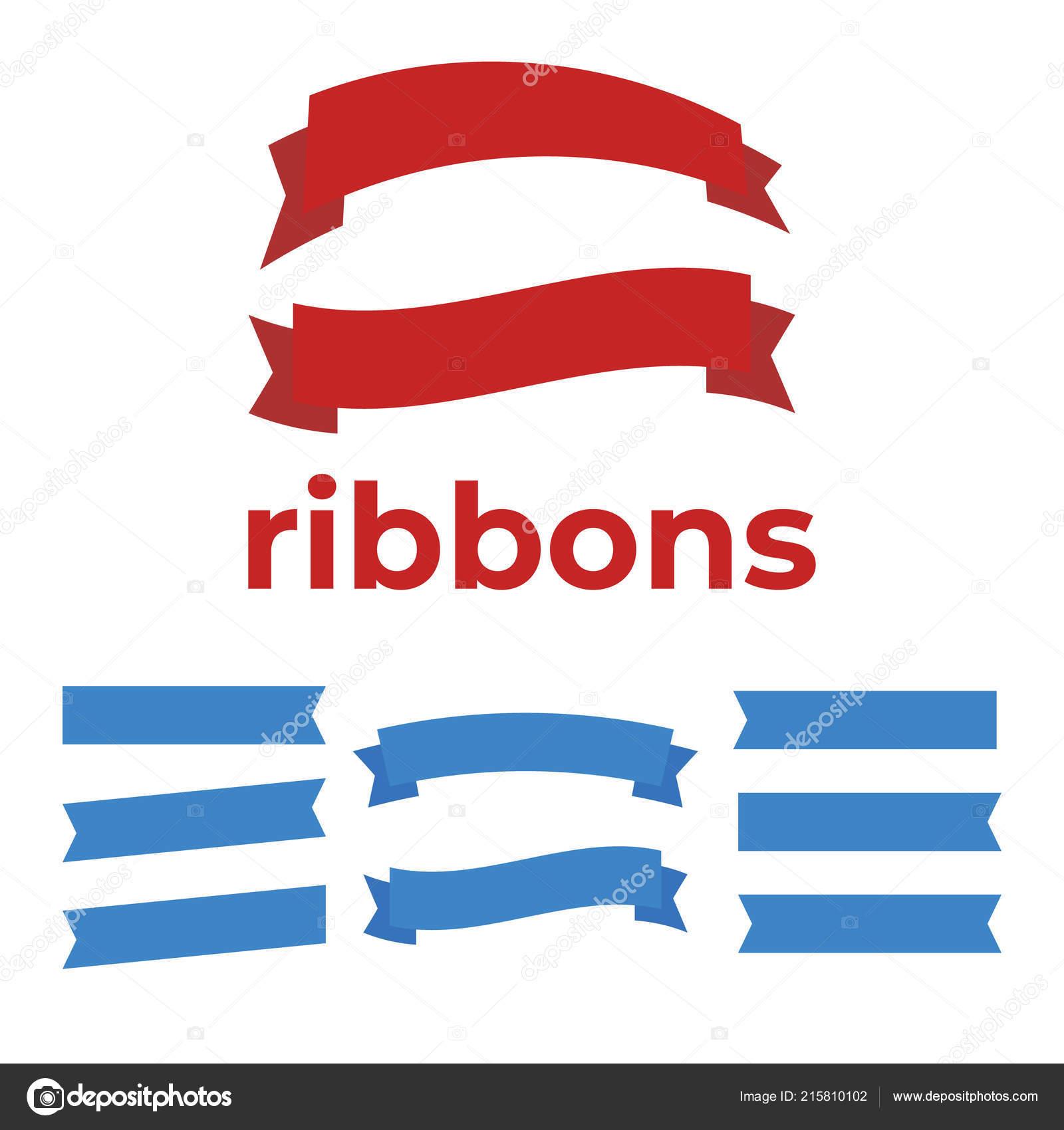 set ribbons anniversary banner ribbon vector stock vector myub