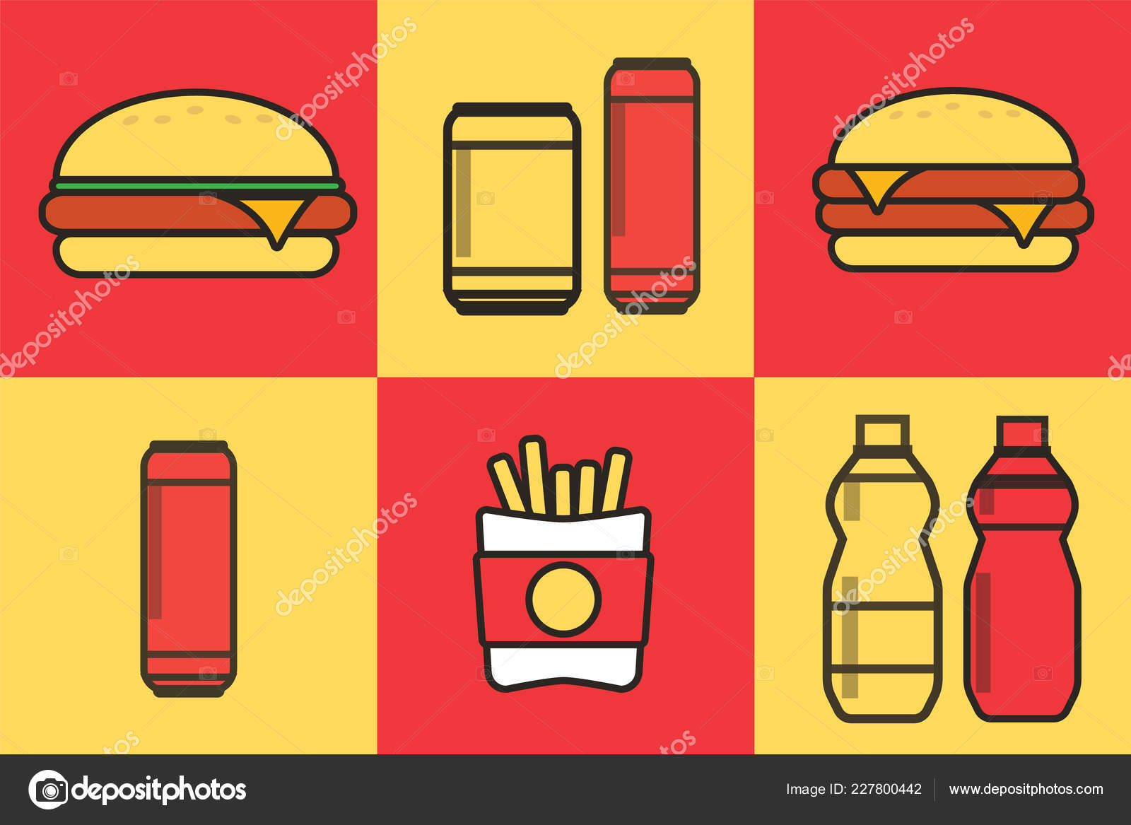 Fast Food Set Vector Fast Food Icons Breakfast Background