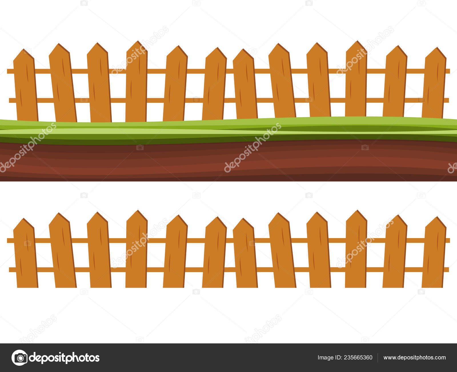 Cartoon Rural Wooden Fence Green Grass Vector Illustration Wood