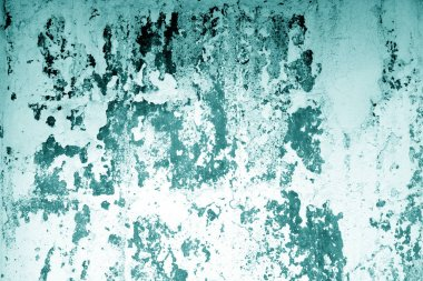 �raked weathered cement wall texture in cyan tone.