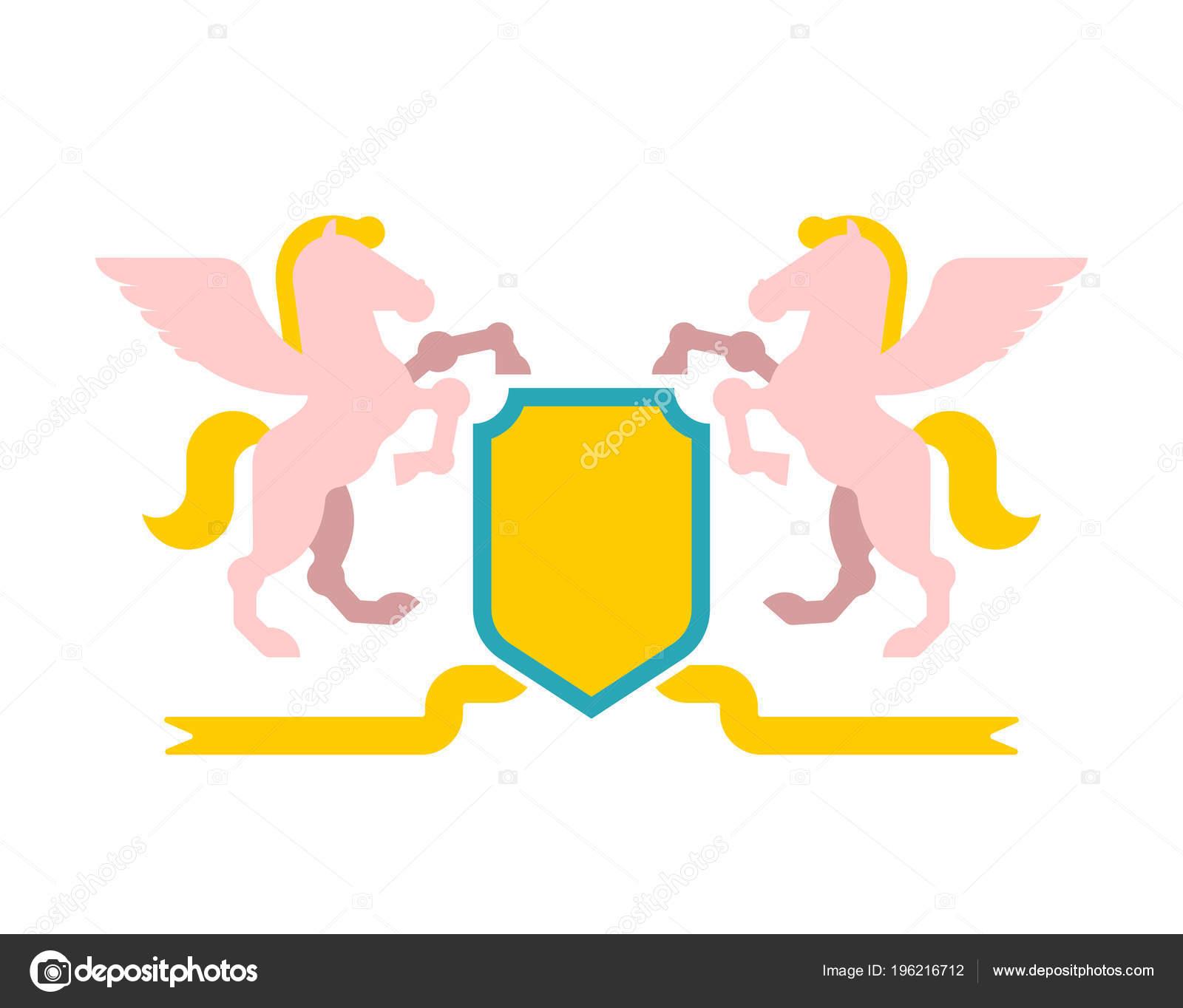 Pegasus Shield Heraldic Symbol Sign Animal Coat Arms Royal