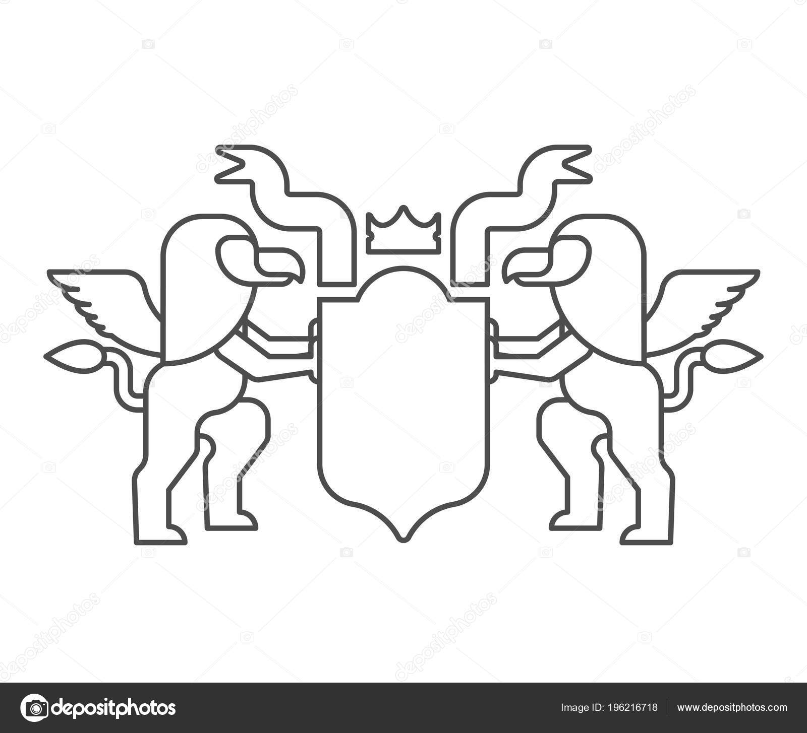 Griffin Escudo Símbolo Heráldico Signo Animal Para Capa Brazos ...