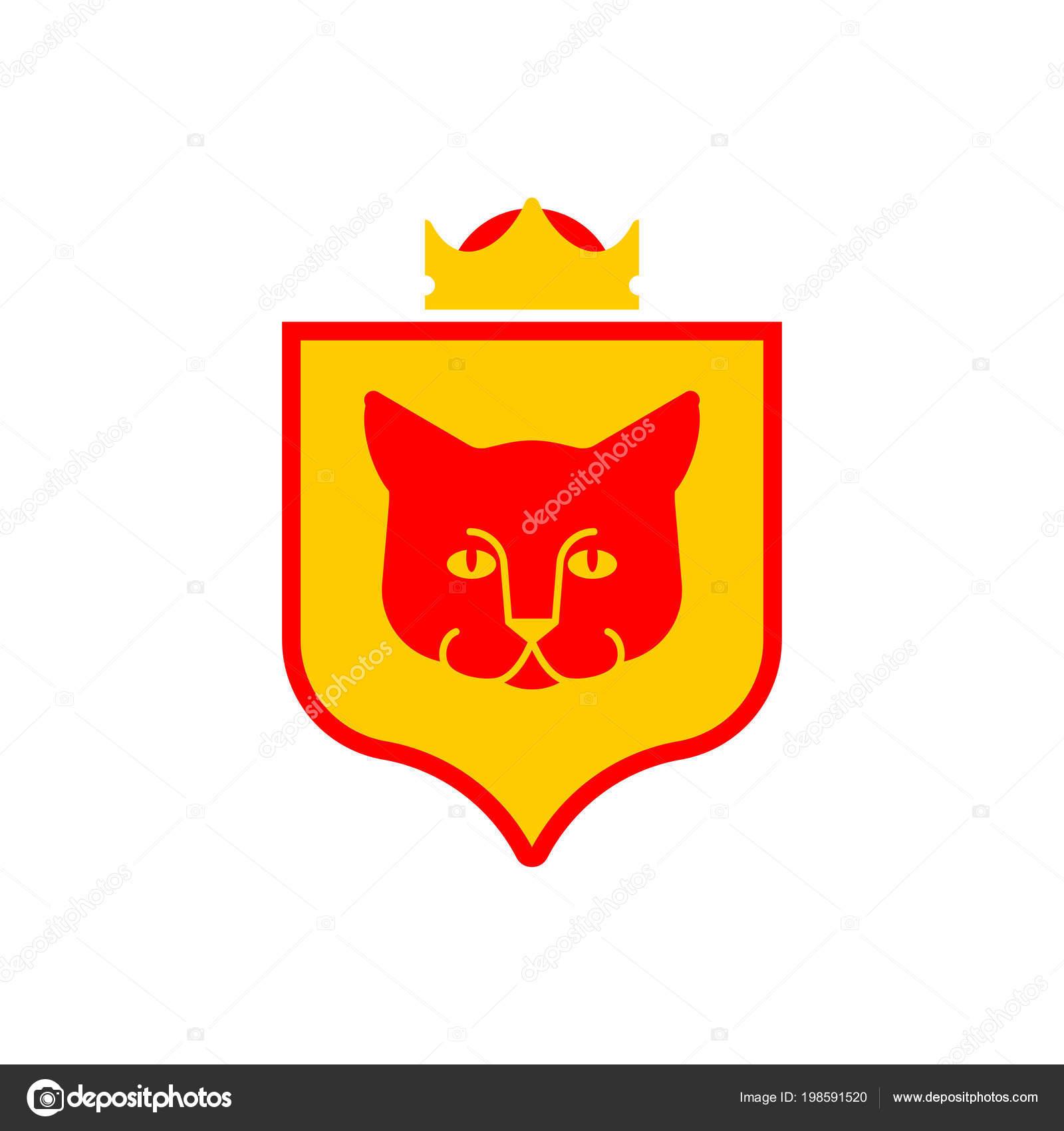Cat Shield Heraldic Symbol Sign Pet Coat Arms Royal Kitten