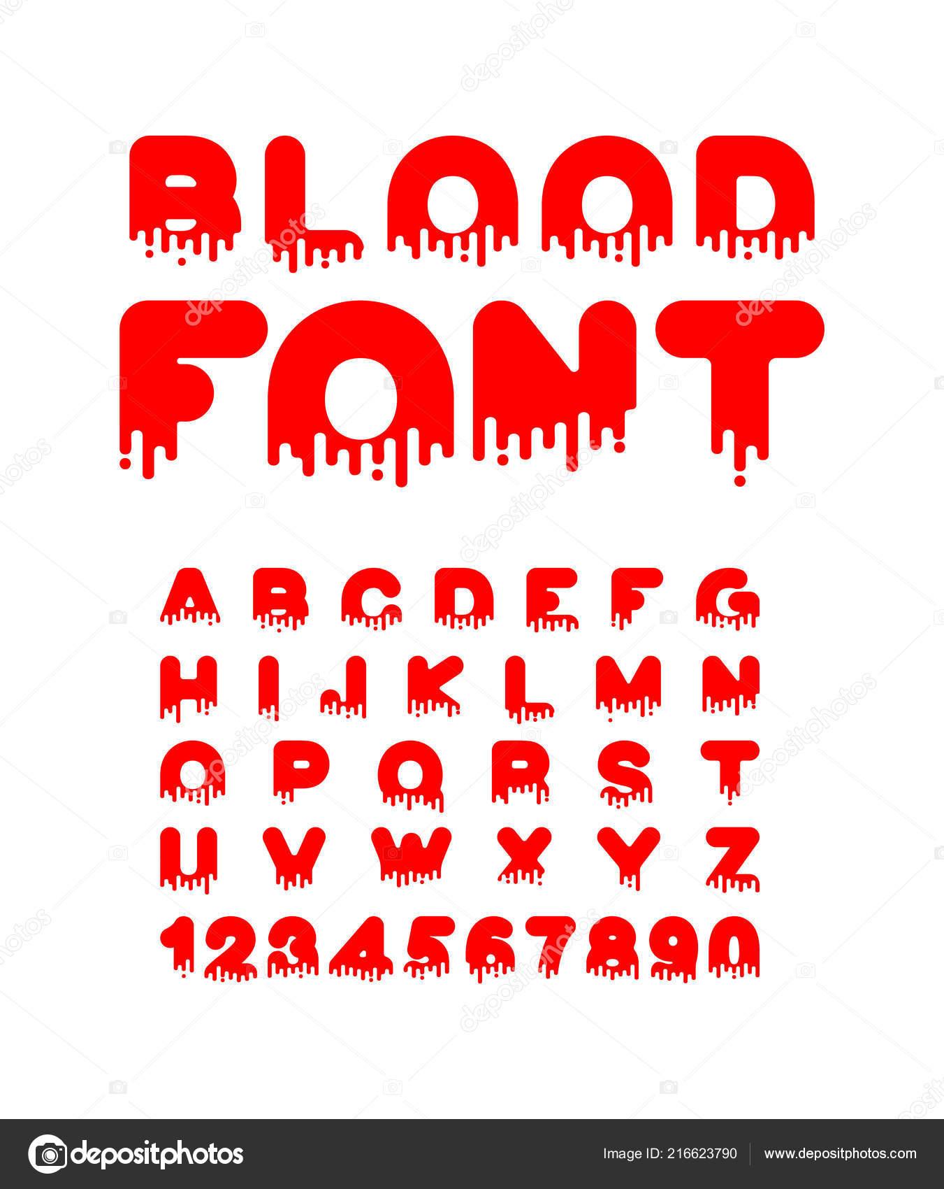Blood Font Halloween Red Liquid Letter Terrible Alphabet Horror