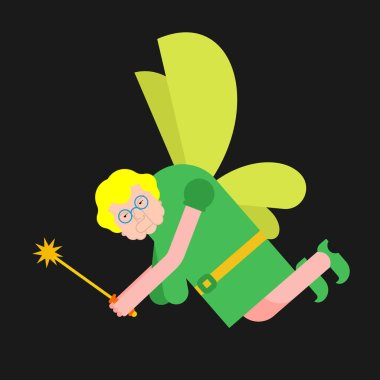 Old Fairy isolated. Grandmother magical. Tiny creature with wings. Flying Mythical fabulous character and magic wan