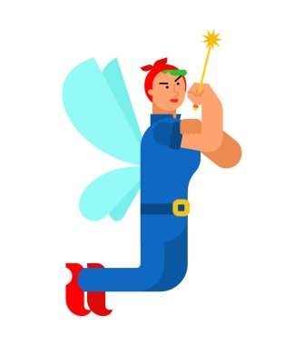 We can do it Fairy. Magical power female. Tiny creature with wings. Flying Mythical fabulous character and magic wan