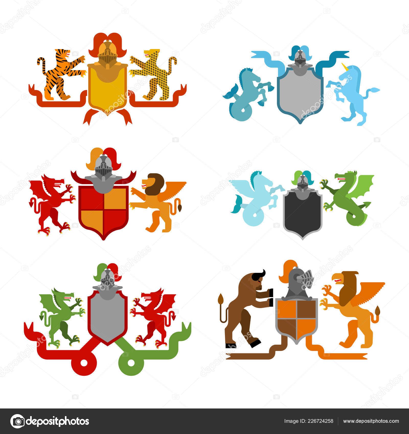 Heraldic Shield And Knight Helmet Set Fantastic Beasts Template Heraldry Design Element Coat Of Arms Royal Family Hippocampus Lion
