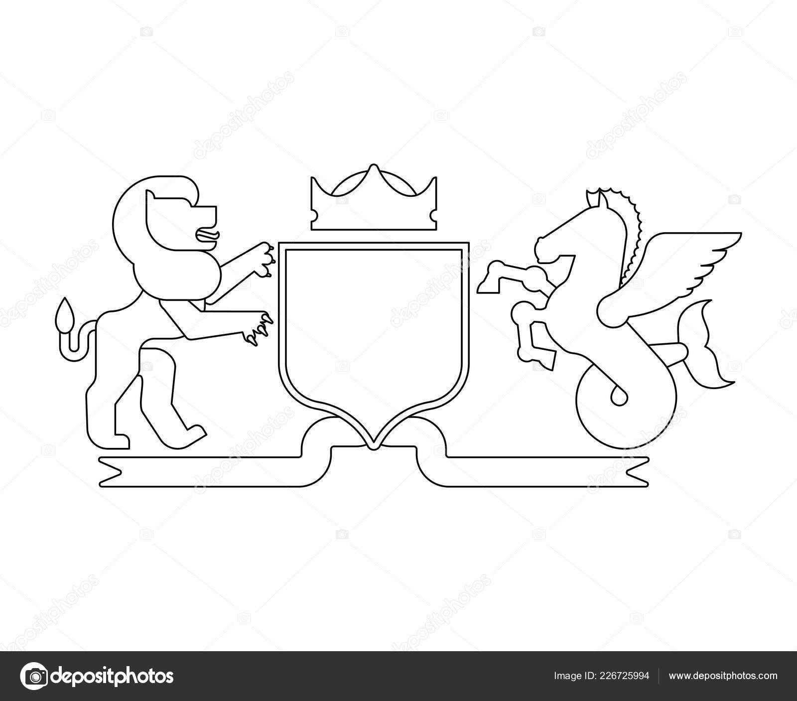 Heraldic Shield Lion Hippocampus Knight Helmet Fantastic Beasts Template Heraldry Stock Vector