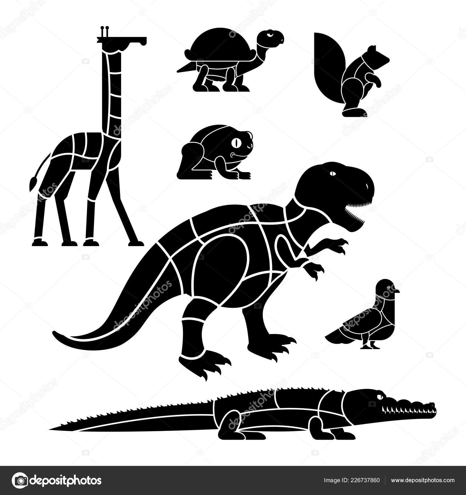cut of meat set beast giraffe and squirrel  dinosaur and pigeon  silhouette  scheme lines of different parts meat  how to cut flesh crocodile and  turtle,
