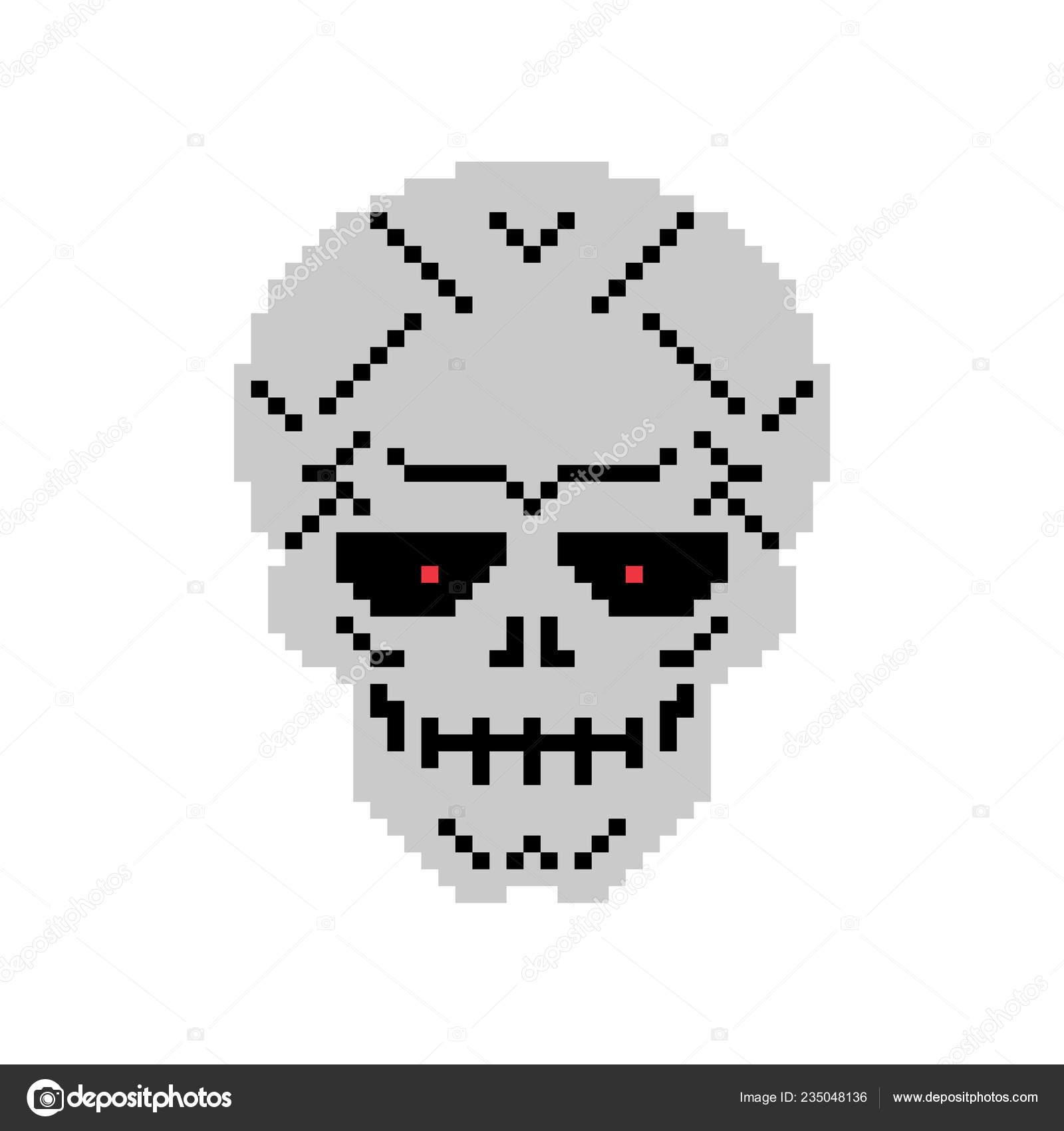 Métal Skull Pixel Art Squelette Tête Fer Image Vectorielle