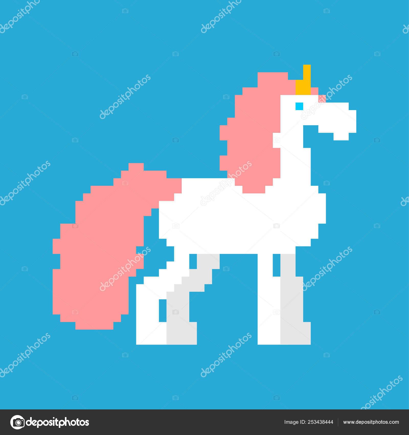 Art De Pixel De Licorne Cheval Magique 8 Bits Avec La Corne