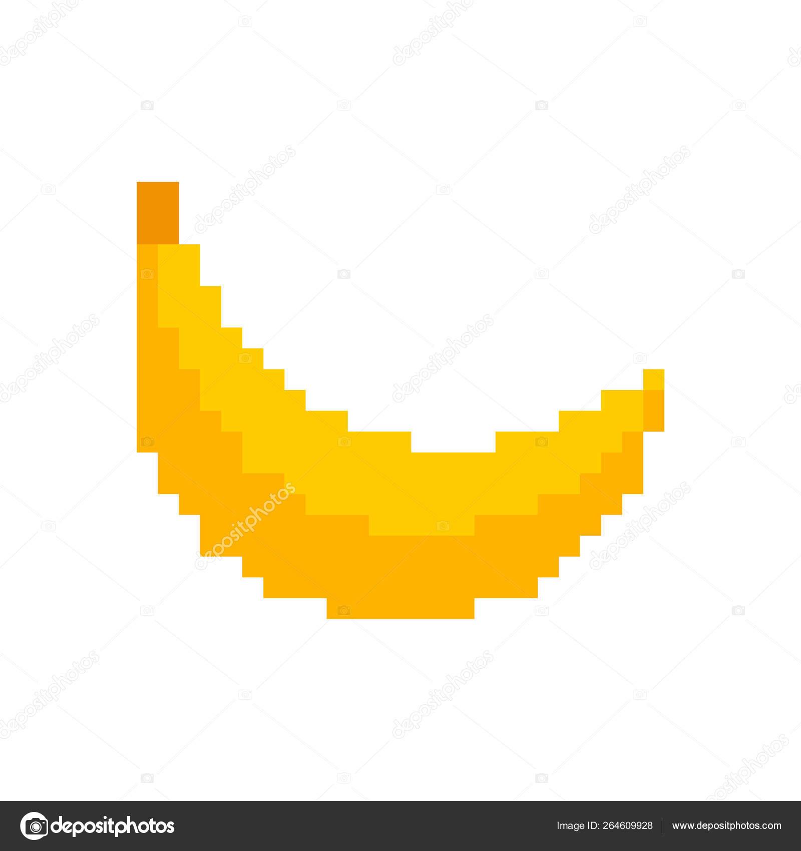 Pixel Banana 8 Bit Banana Pixel Art Fruit Pixelated Old Game Graphics 8 Bit Big Stock Vector C Maryvalery 264609928