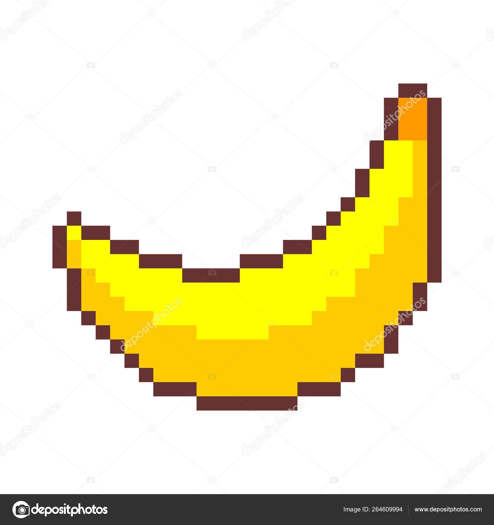 Banana Pixel Art Fruit Pixelated Old Game Graphics 8 Bit Big Stock Vector C Maryvalery 264609994
