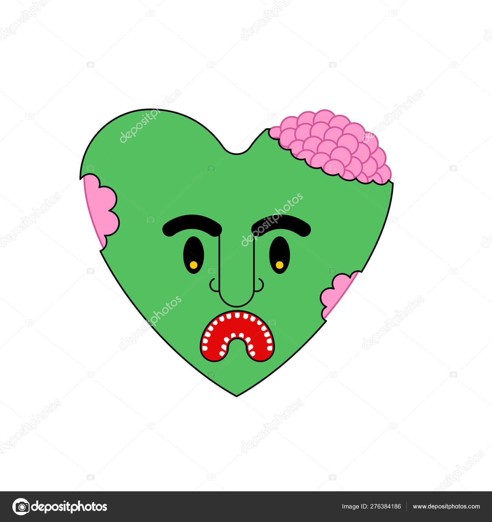 Zombie Love Green Heart Dead Amour Vector Illustration