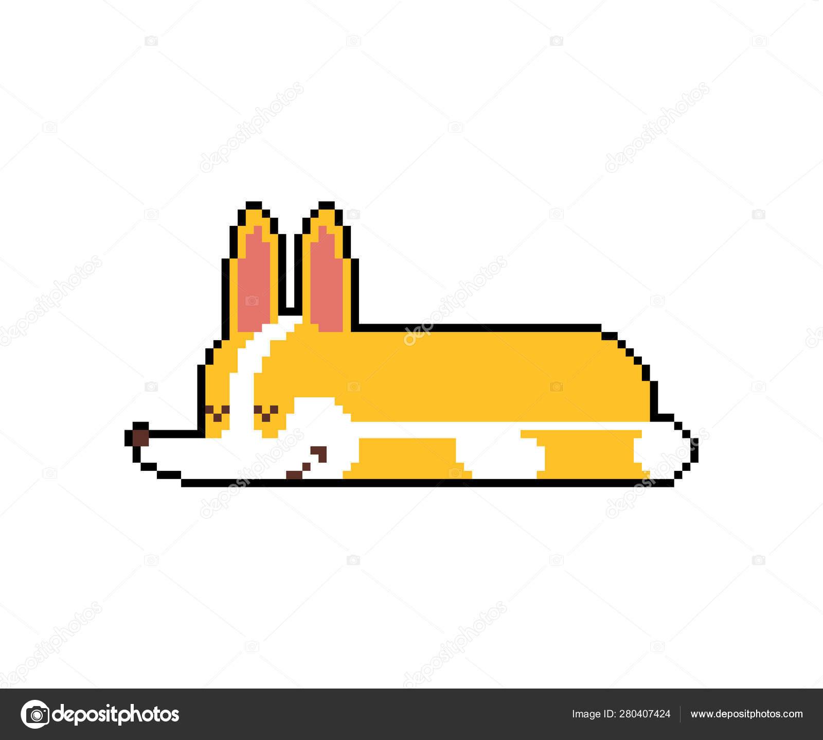 Corgi Sommeil Pixel Art Petit Chien Endormi Dessin Animé 8