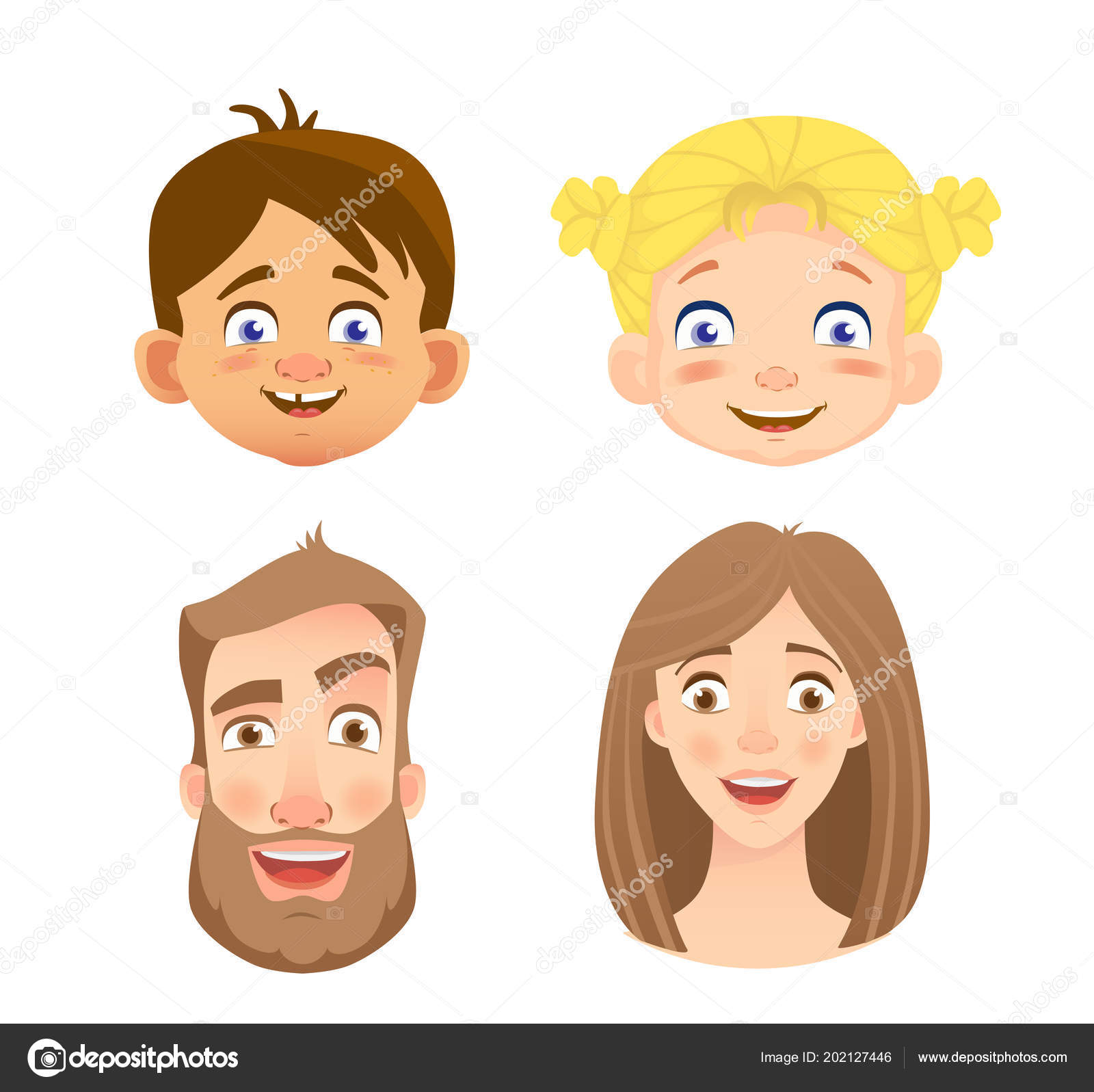 emotions human face set human faces expressing emotions illustration