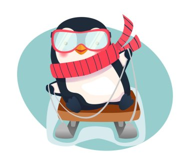 Penguin on sled. Penguin cartoon vector illustration. Activity in winter. Sledging