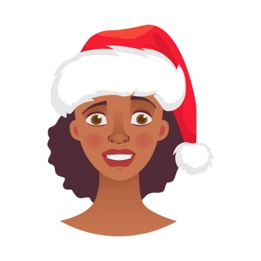 Christmas woman in santa claus hat. Emotions of african american woman face. Facial expression vector illustration
