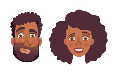 Face of African man and woman. Emotions of african american woman face. Facial expression men vector illustration