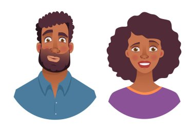 Portrait of african man and woman. Emotions of african american woman face. Facial expression men vector illustration