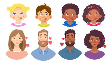 Emotions of human face set. Facial expression. Avatar vector illustration stock vector