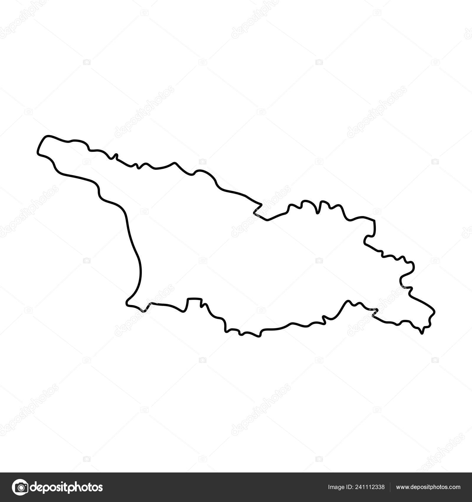 Outline Of Georgia Map.Map Georgia Outline Silhouette Georgia Map Vector Illustration