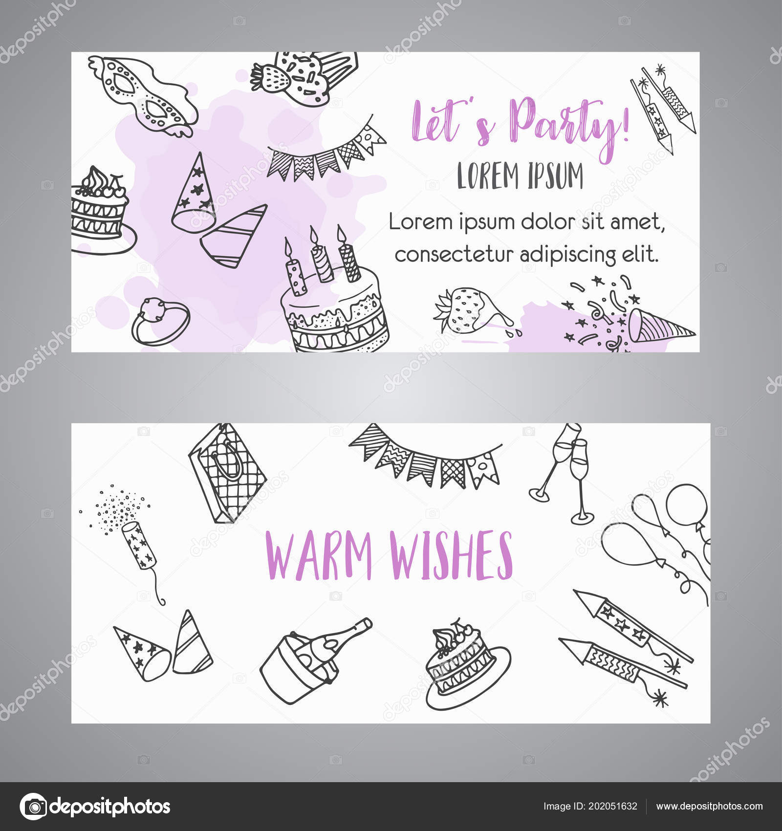 Birthday party doodle banner vector template banners for cards birthday party doodle banner vector template banners for cards invitation flyer party stopboris Images