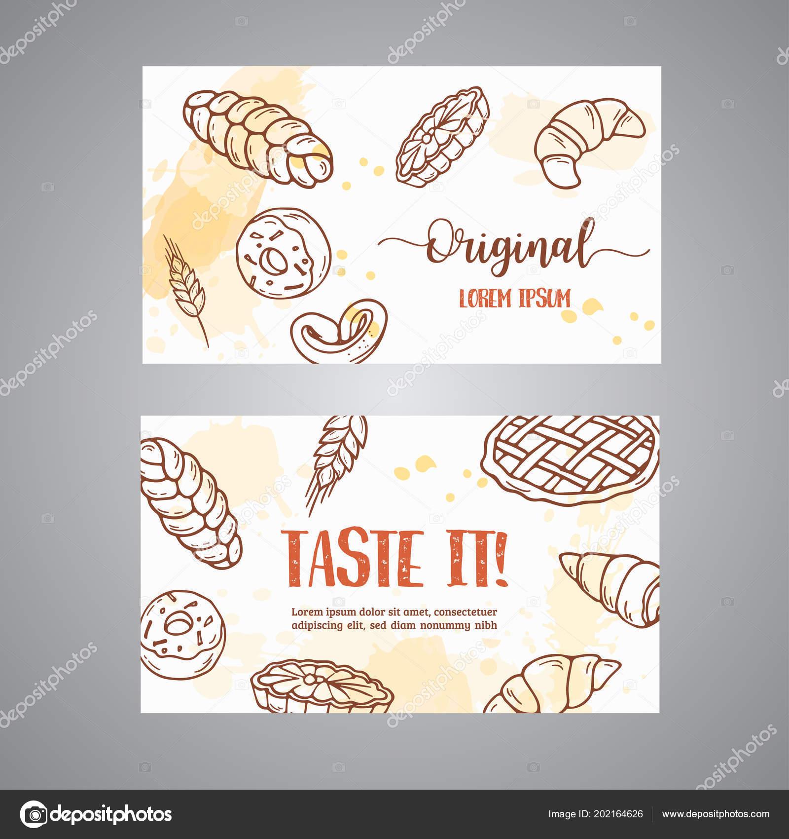 Vintage Carte De Visite Avec Croquis Boulangerie Patisseries Bonbons Desserts Gateau Muffin Et Chignon Dessine Main Design Pour Menu Banniere
