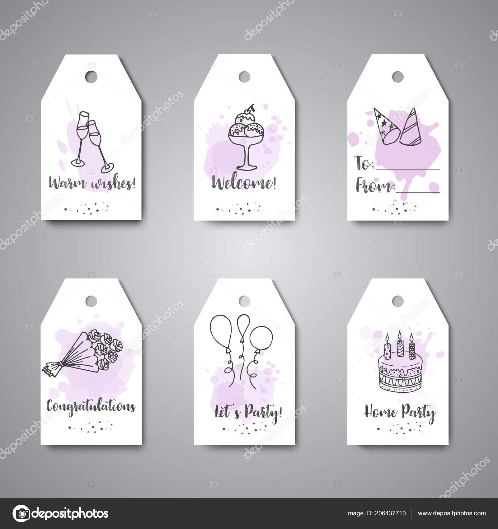 birthday party doodle gift tags vector template banners for poster