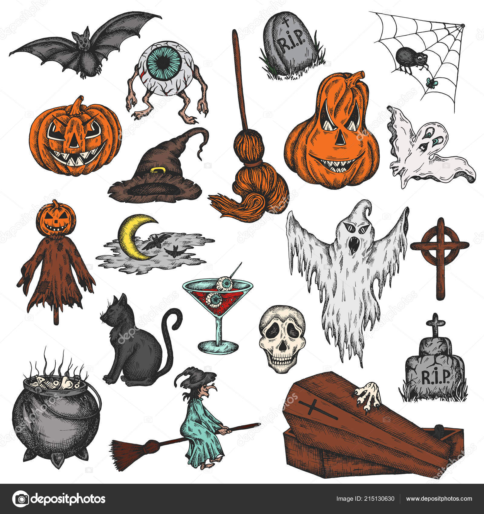 Halloween Holiday Colorful Cartoon Horror Set Scary Halloween