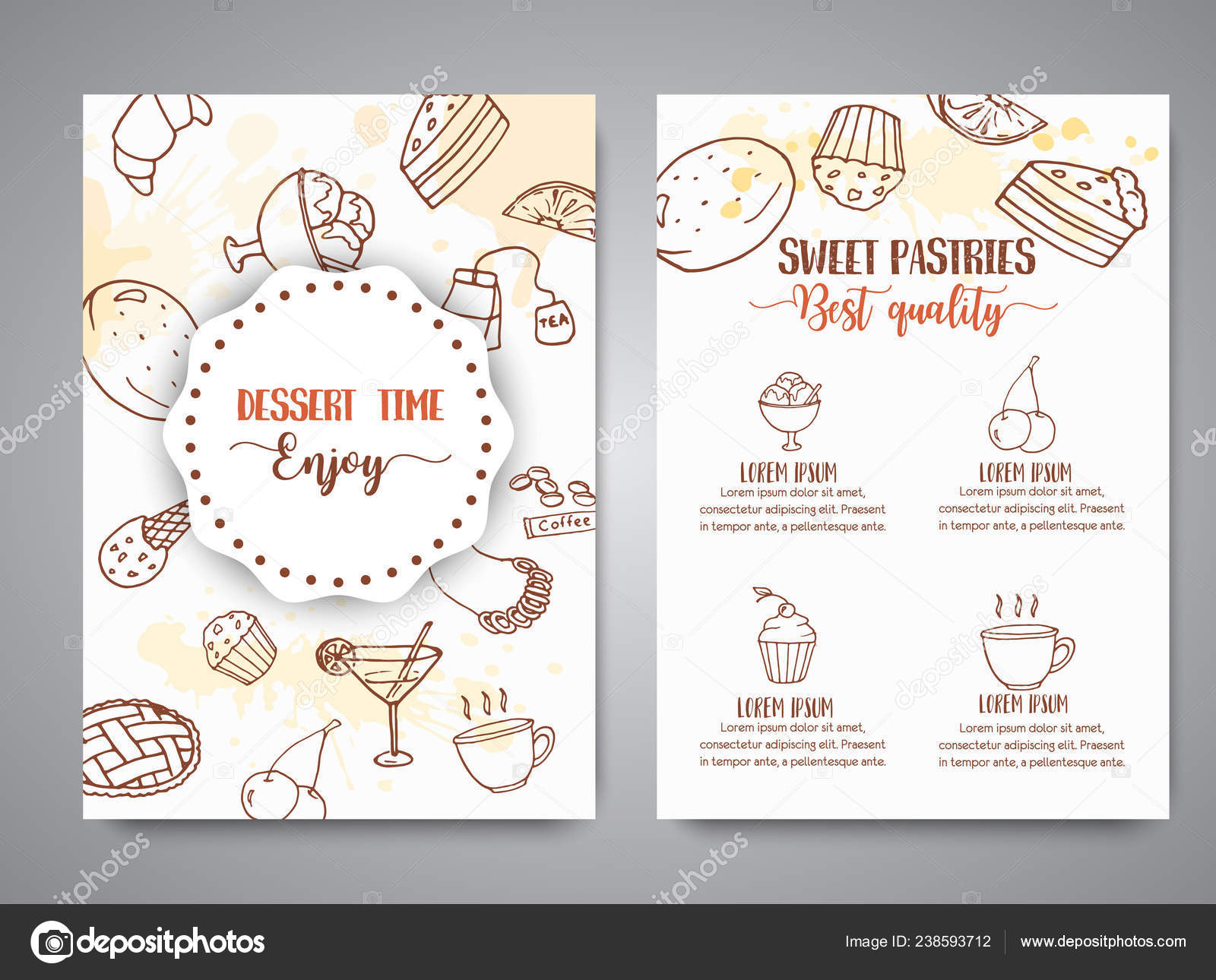 Bakery poster template with pastries  Sweet pastry, cupcakes
