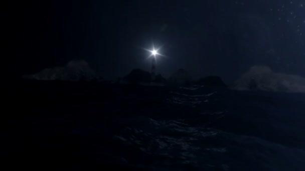 Maják v moři bouře