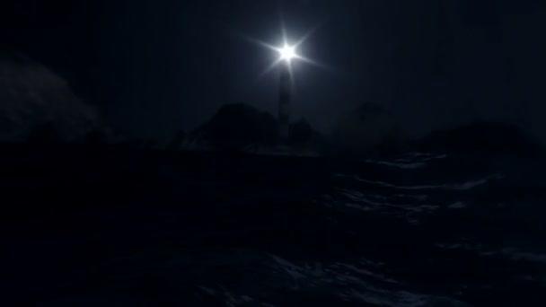 Maják na pobřeží moře v bouři