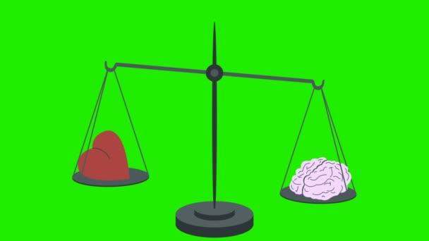 Brain Equal Heart on Scales in Loop Green Screen