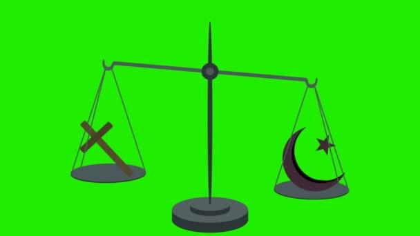 Christianity Vs Islam on Scales in Loop in Green Screen