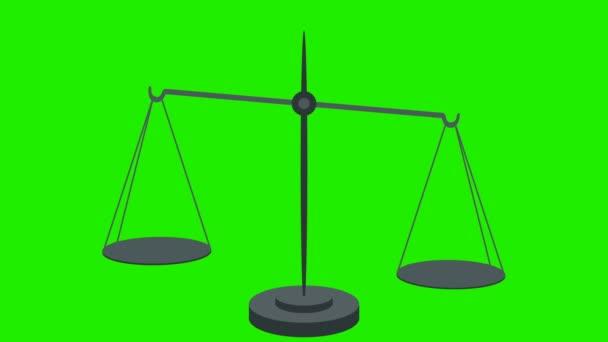 Rovnat váhu na vahách ve smyčce zelená obrazovka