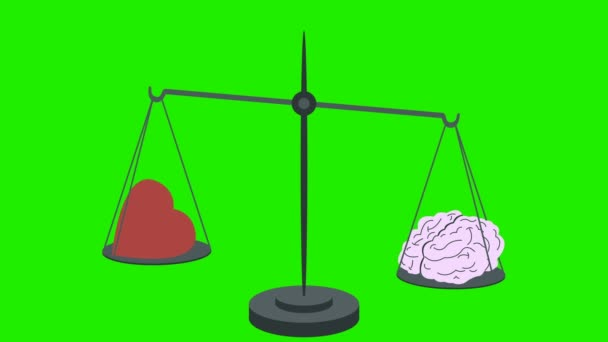 Brain Vs Heart on Scales on a Green Screen