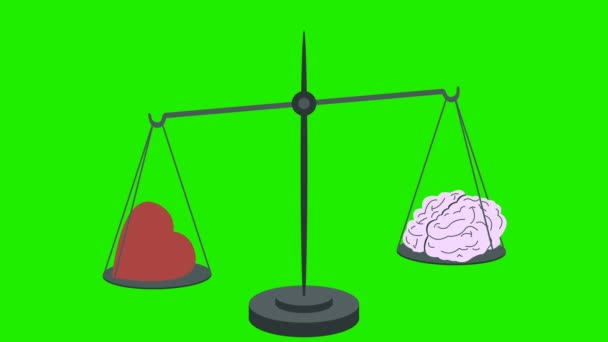 Heart Vs Brain on Scales on a Green Screen