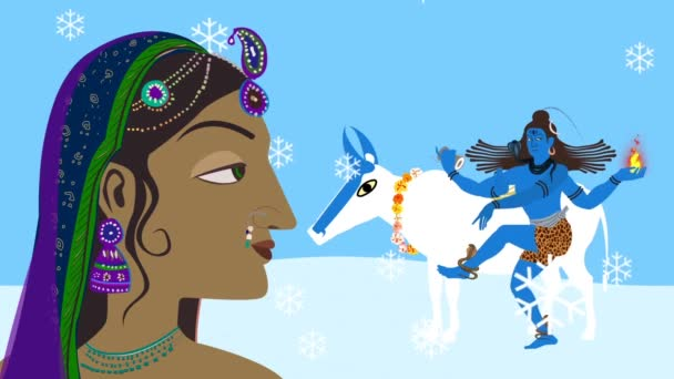 Lord Shiva Nandi und Parvati auf dem Kailash-Berg